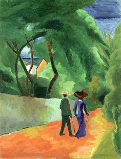 August Macke(Meschede 1887-1914 Perthes-les-Hurlus) Der rote Weg. 1914