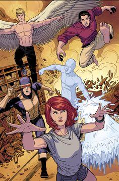 Original X-Men; Angel, Beast, Iceman, Marvel Girl and Cyclops.
