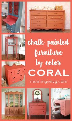 I'm totally in LOVE with all this Chalk Painted Furniture by Color Series - Coral Chalk Paint | www.mommyenvy.com