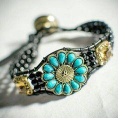 Turquoise Flower | Leather Wrap Bracelet | Boho Jewelry | Gypsy Bracelet | Bohemian | Handcrafted | Free Spirit | Gift for her