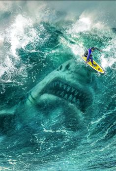 Megalodon Shark in the Wave Art Print by EliasMarcelGarbe - X-Small Shark Pictures, Shark Photos, Underwater Pictures, Pictures To Draw, Scary Ocean, Shark In The Ocean, Extinct Animals, Prehistoric Animals, Beautiful Ocean Pictures
