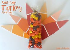 Paint Chip Turkey Thanksgiving Treat Idea by Simply Designing