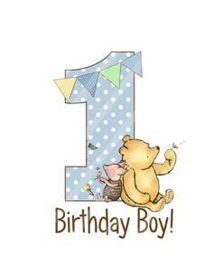 Classic Winnie the Pooh Baby& Birthday by SkipAlongGraphics Birthday Door, 1st Birthday Cards, Happy Birthday, Boy First Birthday, Boy Birthday Parties, Birthday Shirts, Birthday Ideas, Winnie The Pooh Classic, Winnie The Pooh Birthday