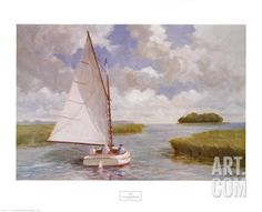 Catboat Through the Marsh Art Print by Ray Ellis at Art.com