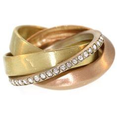 1stdibs.com   Multicolor Interlocking Ring with Diamonds