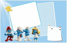 The Smurfs Free: Printable Invitations or Photo Frames. Free Printable Invitations, Free Printables, Christening Themes, Barbie Theme, Oh My Fiesta, Smurfette, Note Paper, Blogger Templates, Party Themes