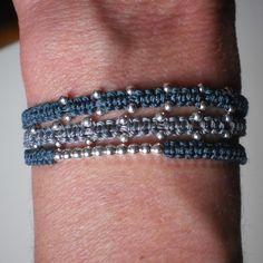 Micro macrame bracelet with silver balls by JewelryMDEMARTA, $24.00