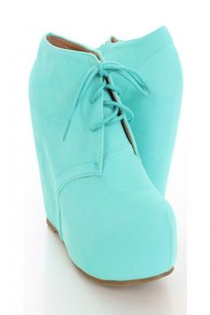 Mint Faux Suede Lace Up Wedges / Sexy Clubwear | Party Dresses | Sexy Shoes | Womens Shoes and Clothing | AMI CLubwear