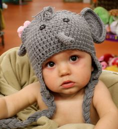 Elephant Crochet Baby Hat, for a baby 6 months to 2t. Depending on the child's size. - $29.99  #TastefulGivingSweeps