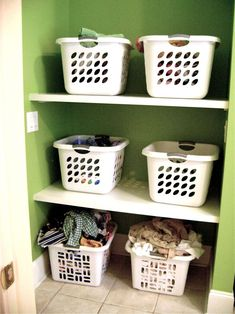 I love this! everyone has their own laundry basket in the laundry room, clean clothes go into the basket, and dirty ones go into the baskets on the floor.  everyone takes care of their own folding and putting away!