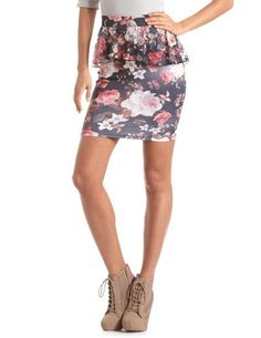 Floral Lace Peplum Pencil Skirt: Charlotte Russe $20