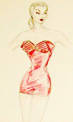 Vintage Jantzen original fashion designer costume sketch of one piece swimsuit Vintage Fashion Sketches, Fashion Illustration Sketches, Fashion Drawings, Vintage Bathing Suits, Vintage Swimsuits, Fashion Prints, Fashion Design, Dream Job, 1950s
