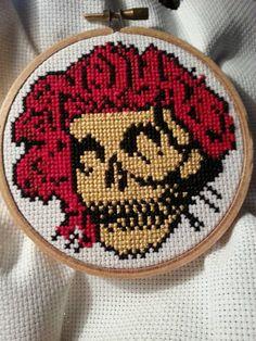 Grateful Dead Bertha Skull and Roses Cross by littlehippiechick