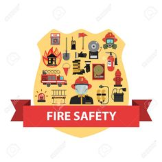 Buy Fire Concept Flat by macrovector on GraphicRiver. Fire concept with firefighter badge and safety icons flat vector illustration.