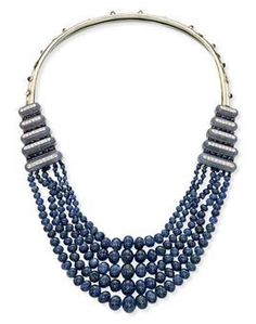Art deco sapphire, chalcedony and diamond necklace designed by Suzanne Belperron for Boivin c.1930