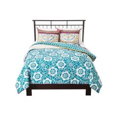 Boho Boutique Taj Comforter Set - Blue ($110) ❤ liked on Polyvore featuring home, bed & bath, bedding, comforters, blue king comforter, cotton king comforter, blue comforter, bohemian comforter and king sham