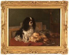 Tom Heywood (English, 1844-1919) Artist's Studio Cavalier King Charles Spaniel & Yorkshire Terrier Oil on canvas, 18 x 24 inches   Exhibitor: William Secord Gallery #AVENUE #painting
