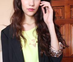 neon shirt, geometric necklace, cheetah sleeved blazer, winter work outfit