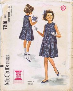 VTG McCall's 7210 Girls Sleeveless Dress With Inverted Pleats Sewing Pattern, By Helen Lee, Size Breast 32 by DawnsDesignBoutique on Etsy Vintage Kids Clothes, Vintage Girls, Vintage Children, Vintage Dresses, Vintage Outfits, Vintage Fashion, Retro Fashion, Vintage Items, Mccalls Patterns