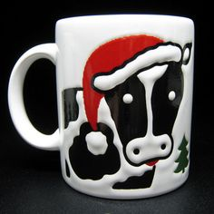 2 mugs from WAECHTERSBACH pottery SANTA COW spain christmas vintage - buy on etsy