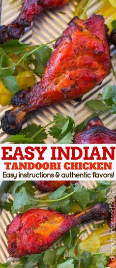 """title=""""Tandoori Chicken is a classic Indian recipe that is marinaded in yogurt, garam masala, cayenne pepper and garlic before being baked in an oven. We make it easy enough to cook during the week and use chicken legs for easy, quick cooking. Tandoori Chicken Marinade, Tandoori Recipes, Pollo Tandoori, Grilled Chicken, Indian Chicken Recipes, Easy Indian Recipes, Asian Recipes, Tandoori Chicken Recipe Indian, Tandoori Masala Recipe"""