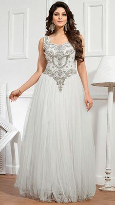 USD 152.61 White Net Designer Gown 48240