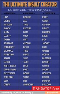 Insult creator, other than the curses, I rather enjoy this list.