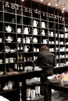 Astier de Villatte | Paris #shop #display #black #shelves #white #dinnerware #servingware