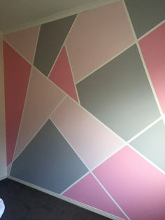 Cute Room Decor, Teen Room Decor, Room Decor Bedroom, Bedroom Colors, Bedroom Wall Designs, Bedroom Murals, Room Wall Painting, Room Paint, Geometric Wall Paint