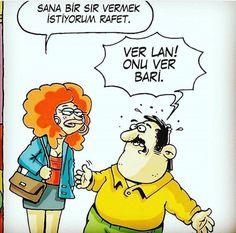 Onu bari ver adama Caricature, Haha, Cartoon, Humor, Comics, Funny, Fictional Characters, Ha Ha, Humour