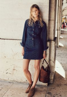 Madewell Jean Jacket Dress, Libson Bucket Bag and Nash Belt