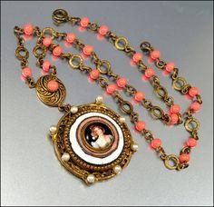 Art Deco Czech Coral Enamel Portrait Necklace Vintage 1920s