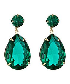 Roberta Chiarella Green Crystal Teardrop Earrings $68