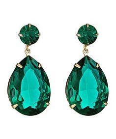 roberta chiarella green crystal teardrop earrings