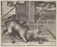 Aegidius Sadeler   Fabel van het dronken hert, Aegidius Sadeler, Marcus Gheeraerts (I), Marcus Gheeraerts (I), 1608   Een hert heeft zich tegoed gedaan aan drank en voedsel en is dronken over een balk gestruikeld. Hij heeft daarbij zijn poot gebroken. De moraal van het verhaal waarschuwt voor de negatieve effecten van dronkenschap.