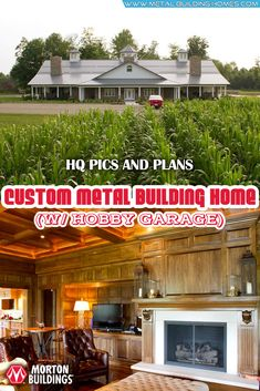 his can also serve as a perfect hobby garage for those with specific inclination to just about anything. It has a wide driveway that can broadly welcome a large number of guests. Metal Building Homes, Metal Homes, Building A House, Free House Plans, Grand Kitchen, Morton Building, Steel Frame House, Huge Houses, Hobby House