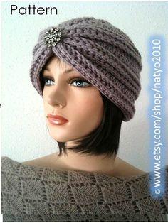 Turban Style Rhinestone Beanie CROCHET PATTERN por NatalieSpot