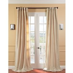 Exclusive Fabrics Solid Faux Silk Taffeta Antique Beige Curtain Panel ($81) ❤ liked on Polyvore featuring home, home decor, window treatments, curtains, beige, rod pocket window panel, door screen, window curtain panels, rod pocket door panel and door window panel