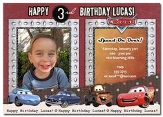 Cars Birthday Invitation | personalized cars invitation | cars birthday party | cars photo invitation  #disneycarsinvitation #disneycarsphotoinvitation
