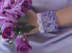 Romantic purple lace bracelet purple lace by NevelynkaNasha, $59.00