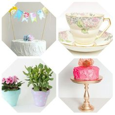 Dellah's Jubilation: Elated with Etsy: Recreate a Pastel + Metallic Dessert Table Dessert Table, Bunting, Garland, Planter Pots, Metallic, Pastel, Desserts, Crafts, Etsy