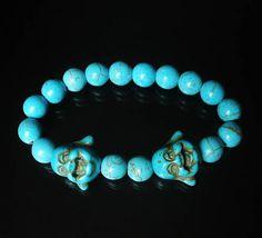 Turquoise Cyan Smile Happy Buddha & Light Blue Ball Beads Mala Stretch Bracelet