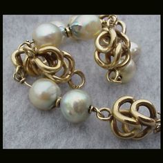 Heavy 14k Yellow Gold Bracelet Vintage Real Pearls Wedding Gift from toinetterl on Ruby Lane
