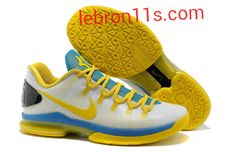 Lebron11s.com Wholesale Kevin Durant Sneakers V Low KD 5 Elite OKC Home White Blue Yellow Pure Platinum 585385 100 Discount To $62.49