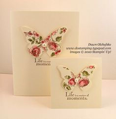 handmade cards ... beautiful butterflies ... clean and simple design ... luv the use of the Elements of Style stamp for the coloring on the butterflies with everything else one color .. delightful!! ...Stampin' Up!