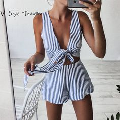 $19.98 - Awesome Casual Striped Playsuit Deep V Neck Tank Sexy Bodysuit Women Shorts Boho Jumpsuit vestido Summer Style Bow Resort Wear Romper - Buy it Now!