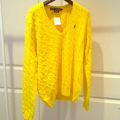 Ralph Lauren Women V-neck Sweater Brand new. Original with tags. Yellow with turquoise pony. Ralph Lauren Sweaters V-Necks