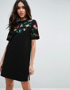 ASOS T-Shirt Dress With Embroidered Yoke - Black
