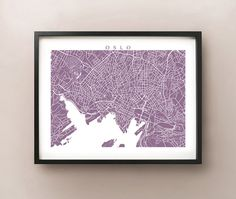 Oslo Map Art Print   Norway Poster by CartoCreative on Etsy, $20.00