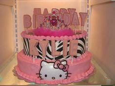 "Photo 1 of 11: Hello Kitty zebra 1st Birthday / birthday party ""kylies first birthday"" | Catch My Party"